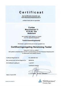 TUV Certificaat Herwinning Textiel